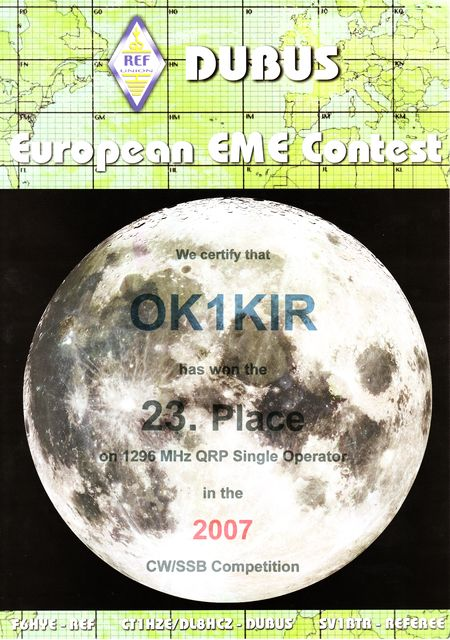 2007 1.3 GHz European EME Contest