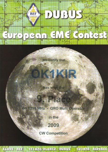 2009 1.3 GHz European EME Contest