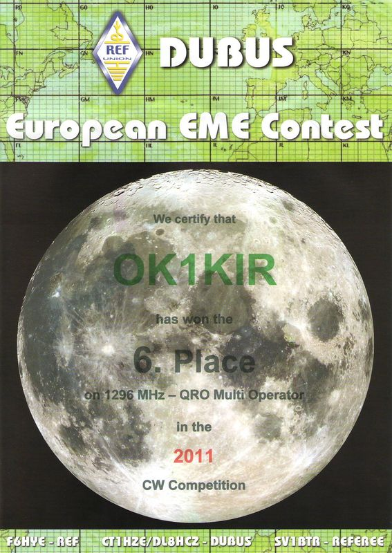 2011 1.3 GHz European EME Contest